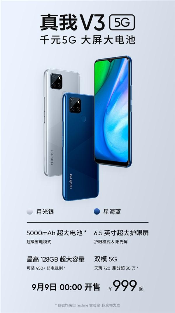 5G手机从未如此便宜 realme V3即将上市:999元起