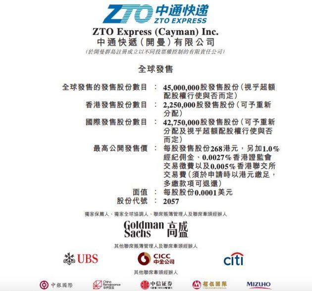 中通快递今起招股:香港公开发售最高定价268港元 预期9月29日开始交易
