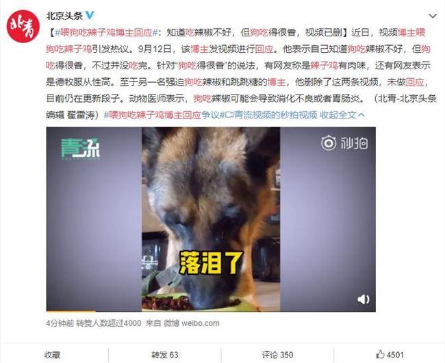喂狗吃辣子鸡博主回应争议:视频已经删除 不会再拍类似视频