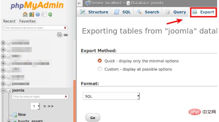 使用phpMyAdmin导出Joomla数据库的方法