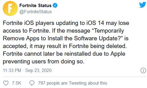 苹果闹大:更新iOS 14过程中可能会导致《堡垒之夜》被删除