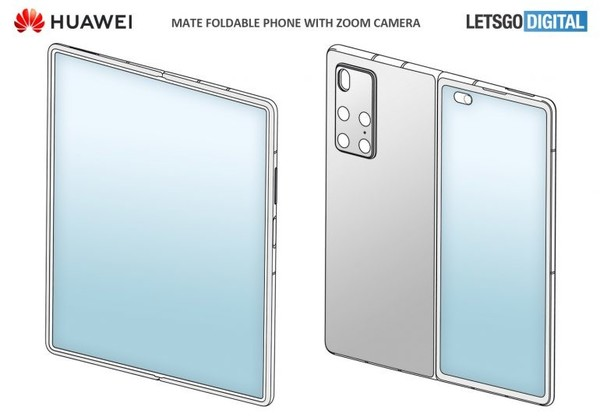 华为Mate X2全新渲染图曝光:内折叠柔性屏四周边框很窄