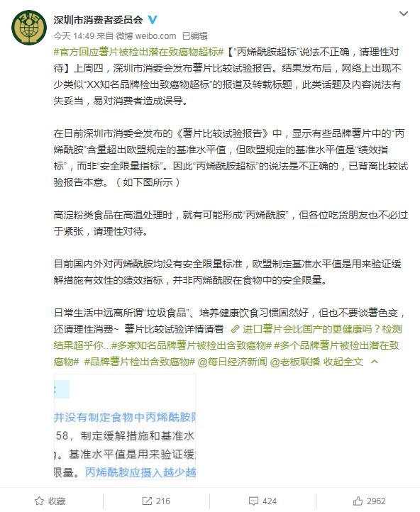 """深圳市消委会回应薯片被检出含致癌物:""""丙烯酰胺超标""""说法不正确"""