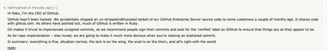 GitHub 源代码泄露,CEO 回应:这是个意外