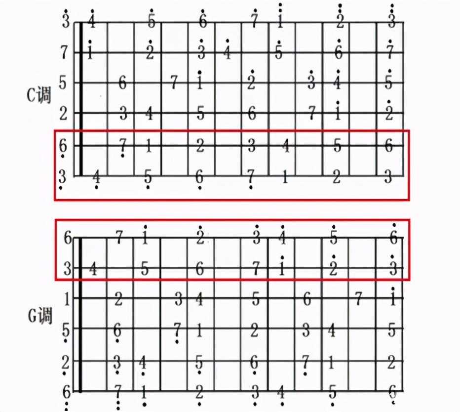 如何通过C调音阶如何快速掌握G调音阶,了解这个规律即可